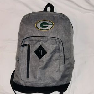 Green Bay Packers Full Size Backpack Grey & Black